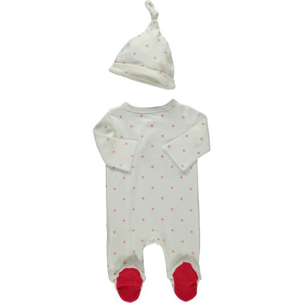 Baby Weihnachtsstrampler mit Mütze und Stickerei