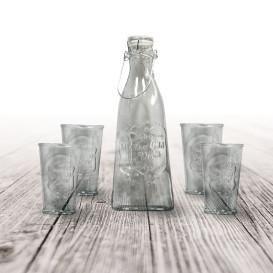 Trinkgläser-Set, Flasche mit 4 Gläsern