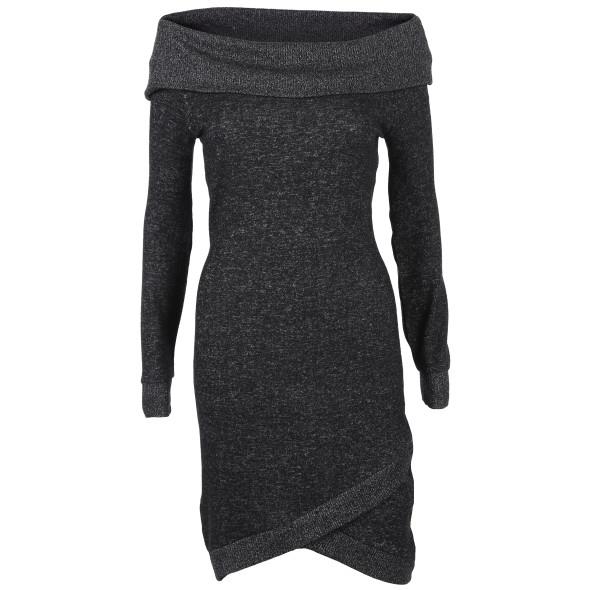 Damen Langpulli-Kleid mit Carmenausschnitt