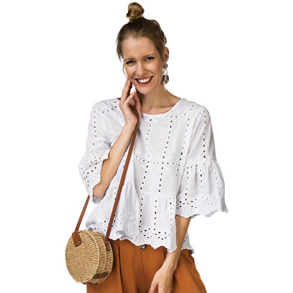 Damen Bluse mit Lochstickerei