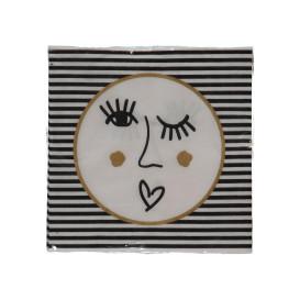 Serviette 17x17cm mit abstraktem Gesicht
