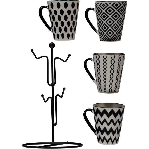 Tassen 4 Stk mit Metallhalter