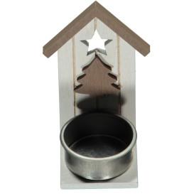 Teelichthalter Häuschen aus Holz, 10cm hoch