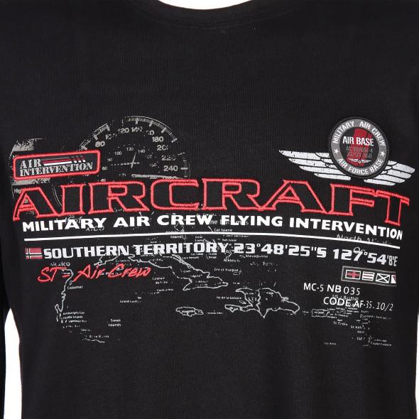 Herren Langarmshirt 2 in 1 mit Print und Stickerei