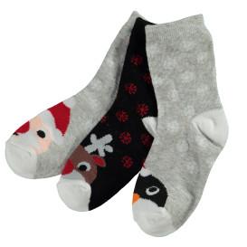 Kinder Socken mit Weihnachtsmotiv im 3er Pack