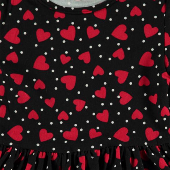 Mädchen Kleid mit Herzchendruck