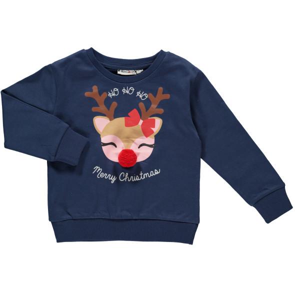 Mädchen Weihnachtspullover mit Pompom