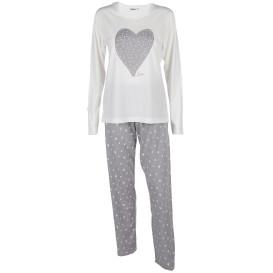 Damen Schlafanzug Set mit Herz-Print