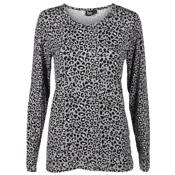 Damen langarm Shirt mit Allover Print