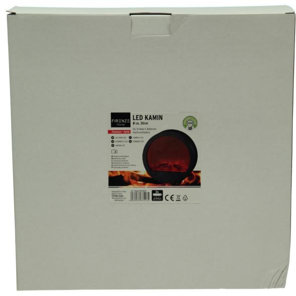 LED Kamin mit Flammenoptik, Durchmesser 35cm
