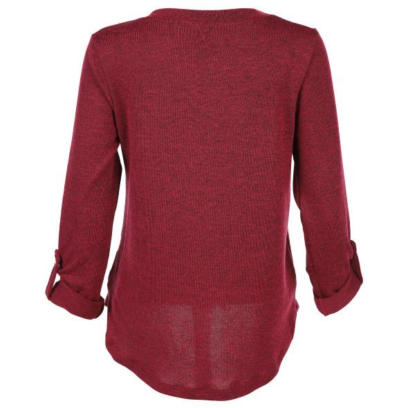 Damen Strickshirt mit Krempelfunktion