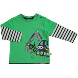 Baby Langarmshirt mit Print und angesetzten Ärmeln