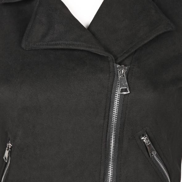 Damen Kurzjacke mit schrägem Reißverschluss