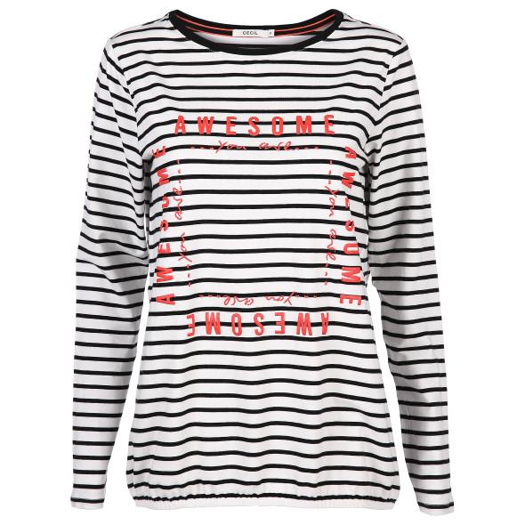 Damen Shirt mit Streifen und Glitzeroptik