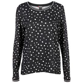 Damen Shirt mit Punkten und Strickbündchen