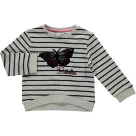 Mädchen Sweatshirt mit Streifen und Wendepailletten