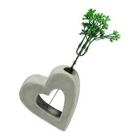 Vase in Herzform mit Kunstzweig, 10cm hoch