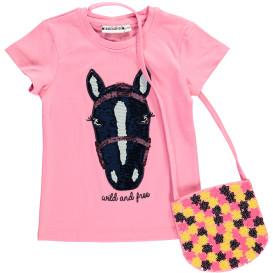 Mädchen Shirt mit Wendepailletten und kleiner Umhängetasche