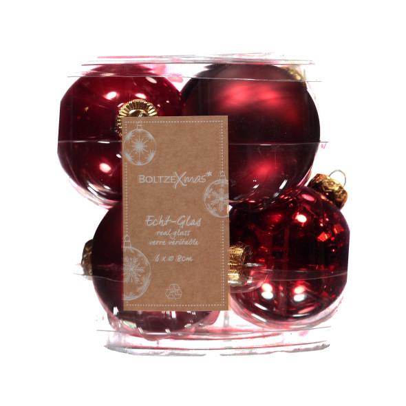 Weihnachtskugel Set aus Glas, 6tlg., Durchmesser 8cm