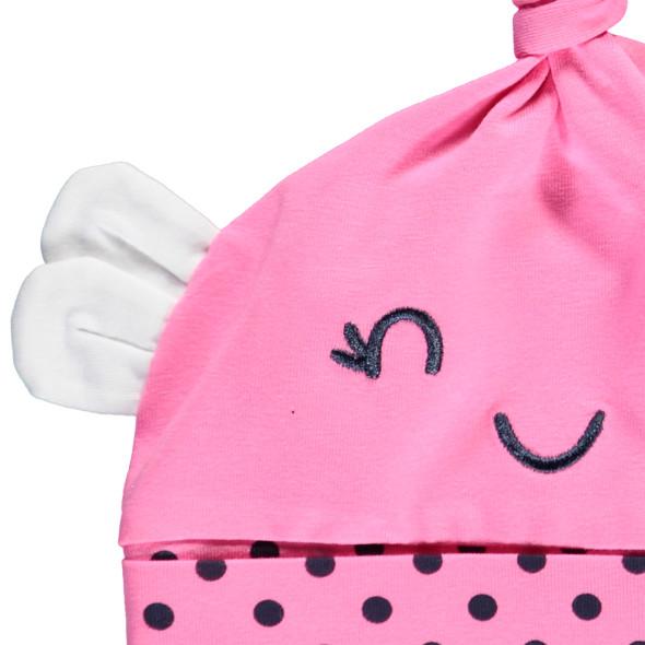 Baby Mädchen Mütze mit kleinen Öhrchen und Zipfel