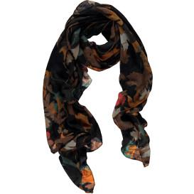 Damen Schal mit Blätter Dessin, 80x180cm
