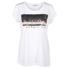 Damen Shirt mit Pailletten und Print