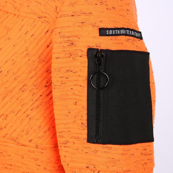 Herren Neon-Hoodie mit Reißverschlussdetails