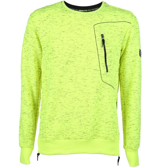 Herren Neon-Sweatshirt mit Reißverschlussdetails