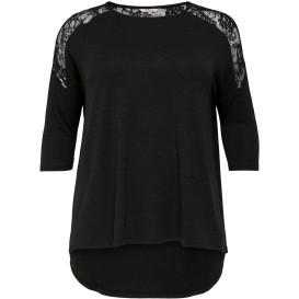 Damen Only Carmakoma Shirt mit 3/4 Ärmel und Spitzeneinsatz