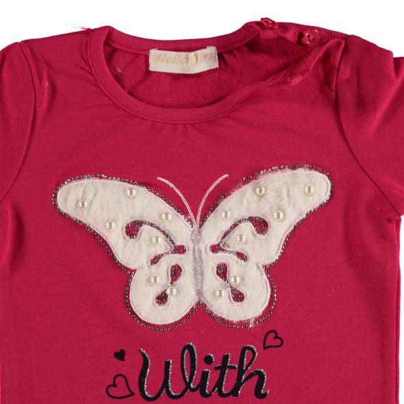Baby Mädchen Longsleeve mit Schmetterling und Perlen