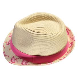 Mädchen Strohhut mit pinkem Hutband