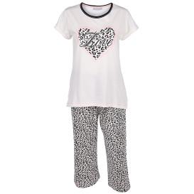 Damen Schlafanzug im Leoprint mit 3/4 Hose