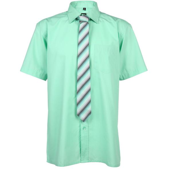 Herren Hemd mit kurzem Arm und Krawatte