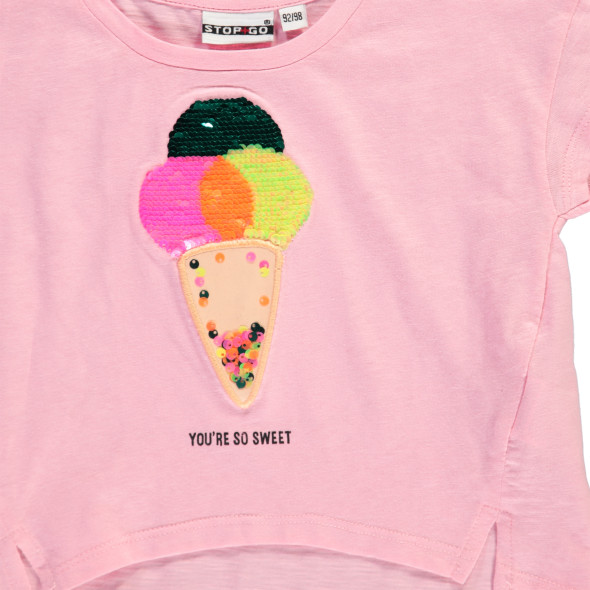 Mädchen Shirt mit Wendepaillettenmotiv