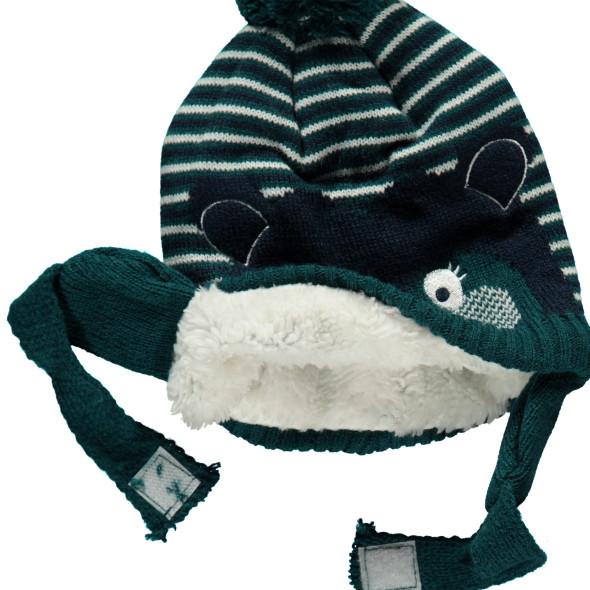 Baby Jungen Mütze mit Bärchengesicht
