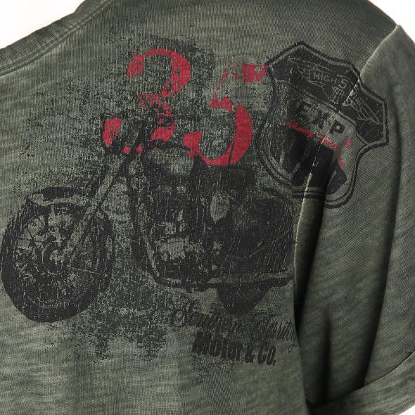 Herren T-Shirt mit Print in melierter Optik