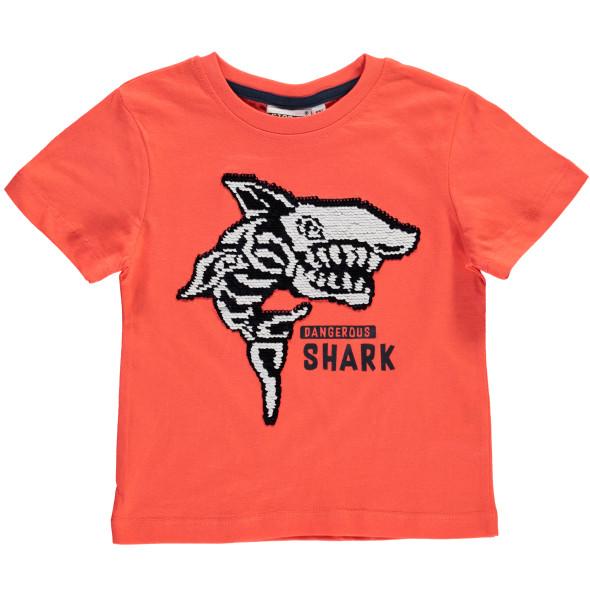 Jungen T-Shirt mit Pailletten-Haiprint