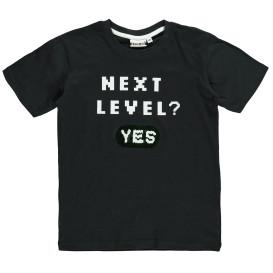 Jungen Shirt mit Wendepailletten und Print