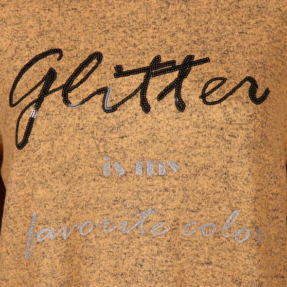 Damen Feinstrick Pullover mit Paillettenschrift