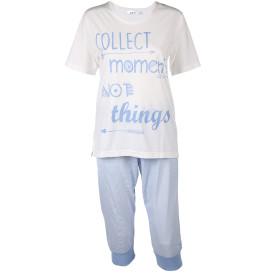 Damen Schlafanzug, kurzarm mit Caprihose