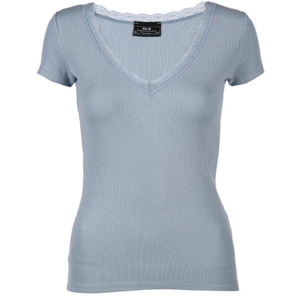 Damen T-Shirt mit V-Ausschnitt und Spitze