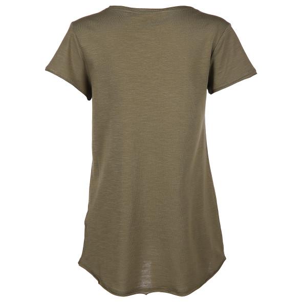 Damen T-Shirt unifarben mit V-Ausschnitt