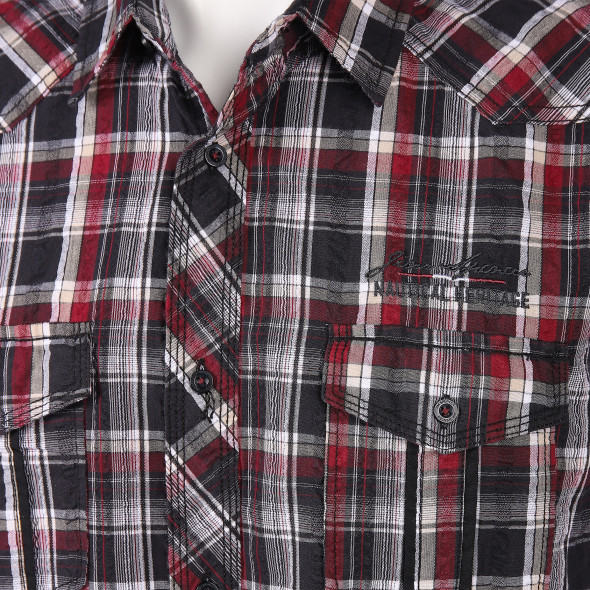 Herren Seersuckerhemd mit Brusttaschen
