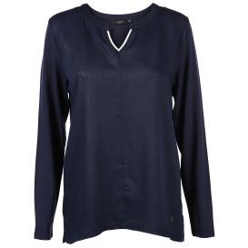 Damen Materialmix Shirt mit langem Arm