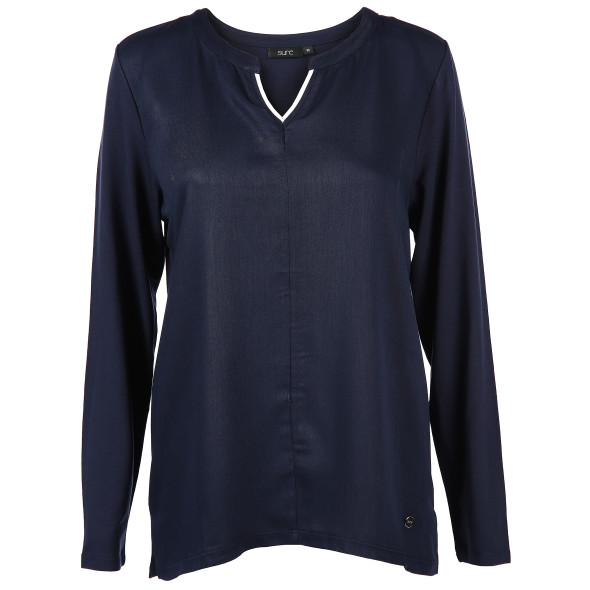 Damen Materialmix Shirt mit langem Arm