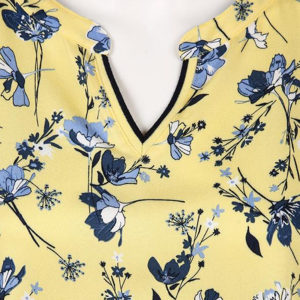 Damen Materialmix Shirt mit Blumen