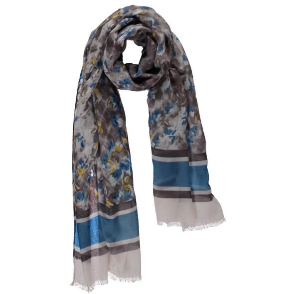 Damen Schal im Streifendessin mit Bordürenprint