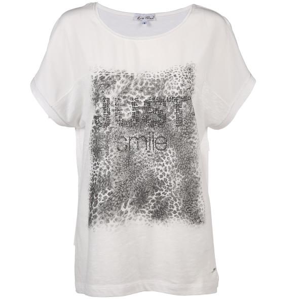 Damen Materialmix-Shirt mit Print und Ziernieten