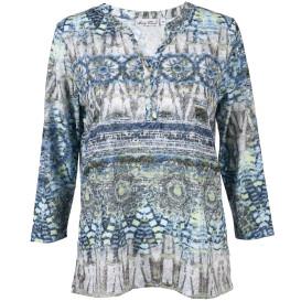Damen Ausbrenner Shirt mit Perlmuttknöpfen