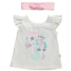 Baby Mädchen Set T-Shirt mit Print und Stirnband